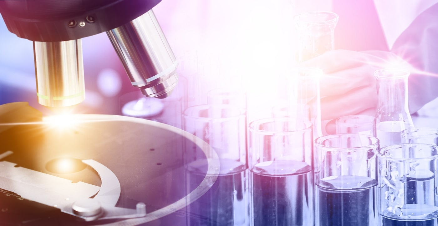 Research and development concept. Double exposure image of microbiology and chemistry in laboratory for medicine study.