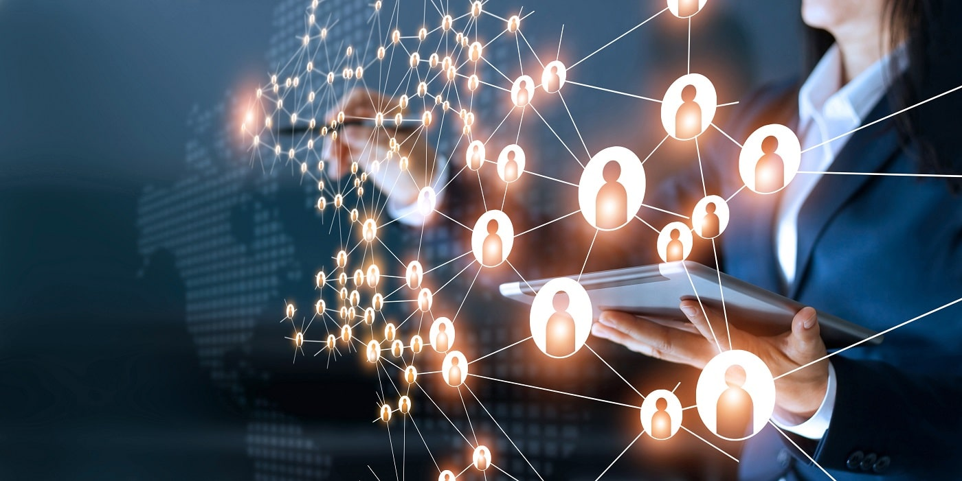 Business woman drawing global structure networking and data exchanges customer connection on dark background