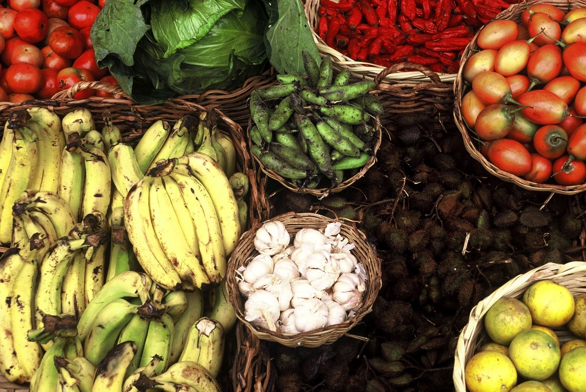 Colours and shapes show the great diversity of local products. La Cocha, Colombia Northern Andes Ecoregion
